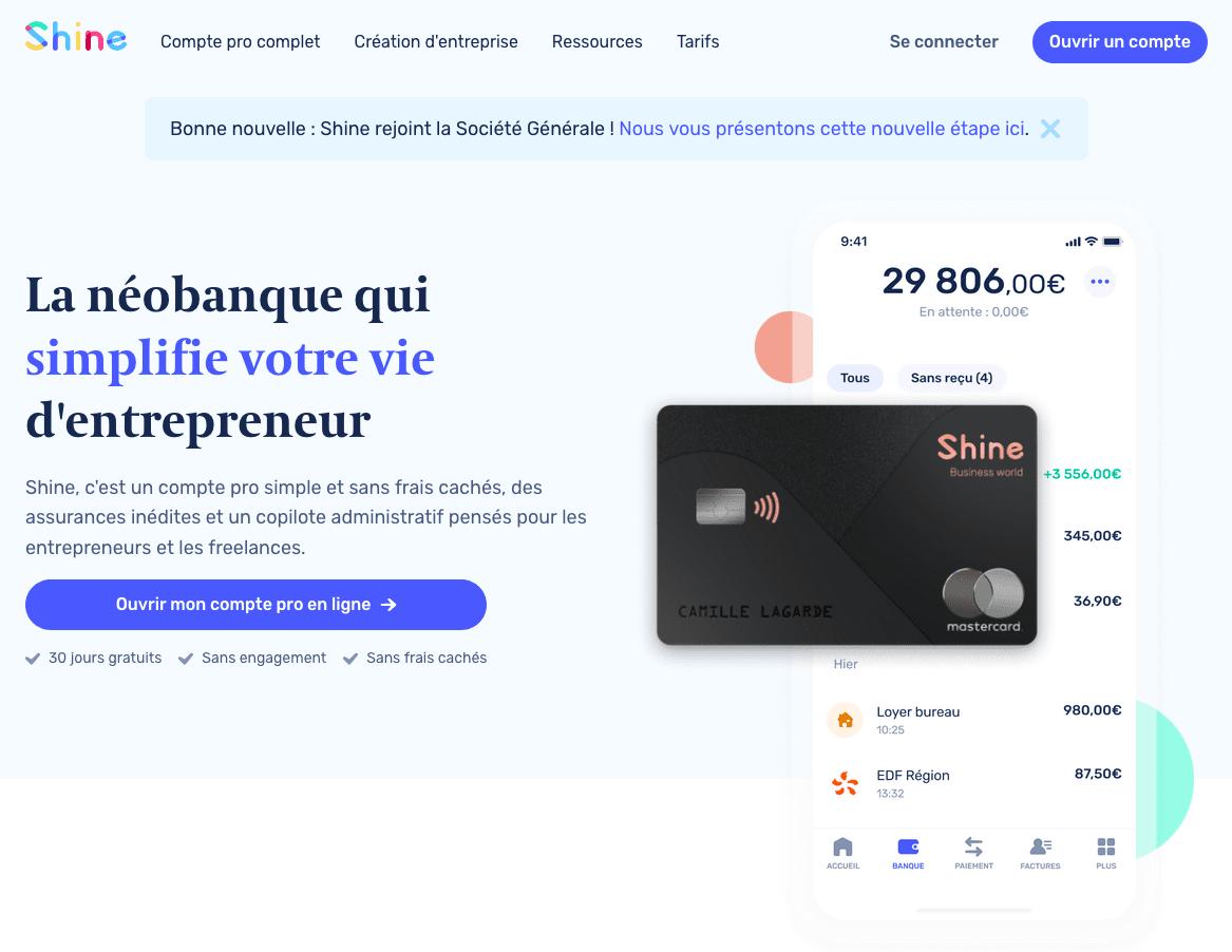 Shine : néobanque pro